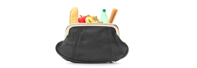 A wallet filled with groceries